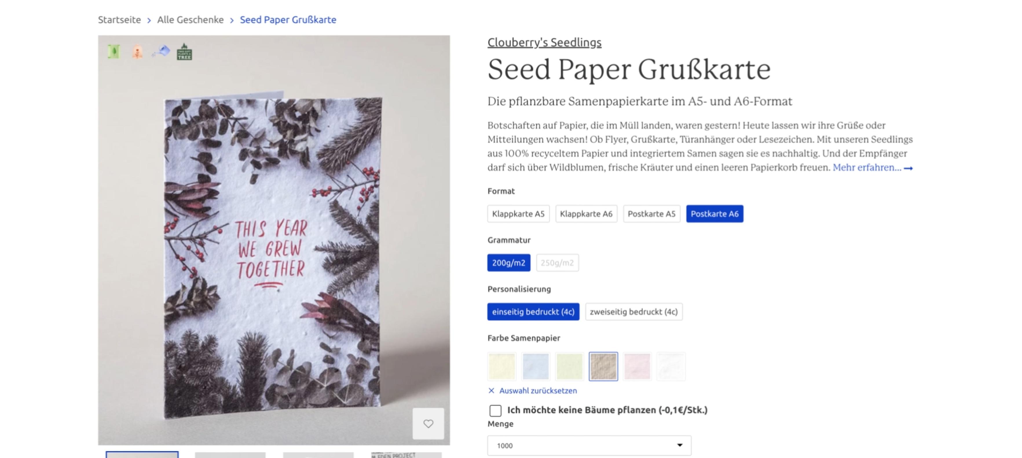 Seed Paper Grußkarte